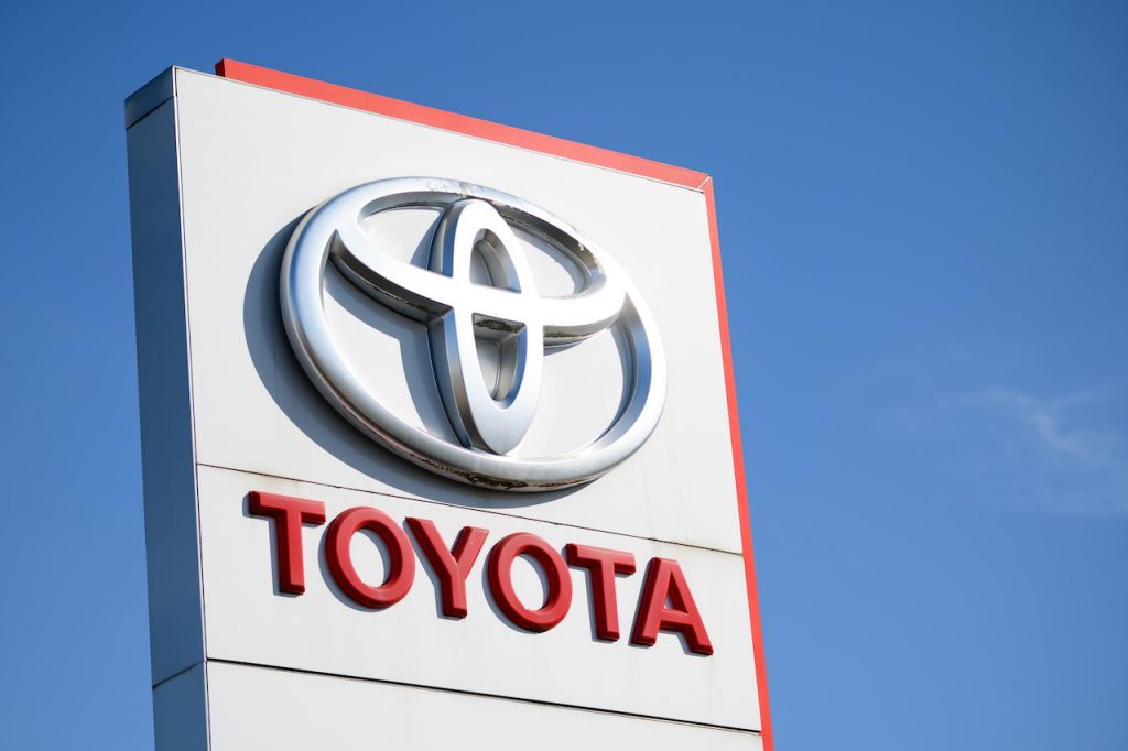 A close up image of the Toyota Logo