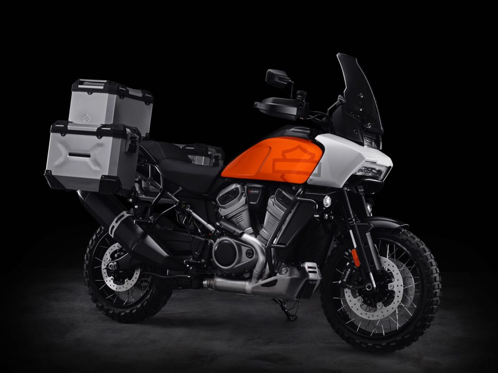 The orange-tanked Harley-Davidson Pan America concept with hard-sided luggage