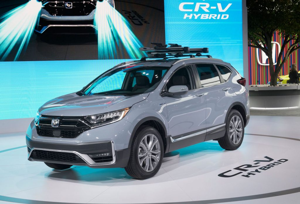 The 2020 Honda CR-V Hybrid that has been named the 2020 Green SUV of the Year, at the 2019 Los Angeles Auto Show