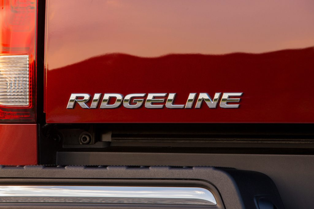 Exterior shot of a red Honda Ridgeline