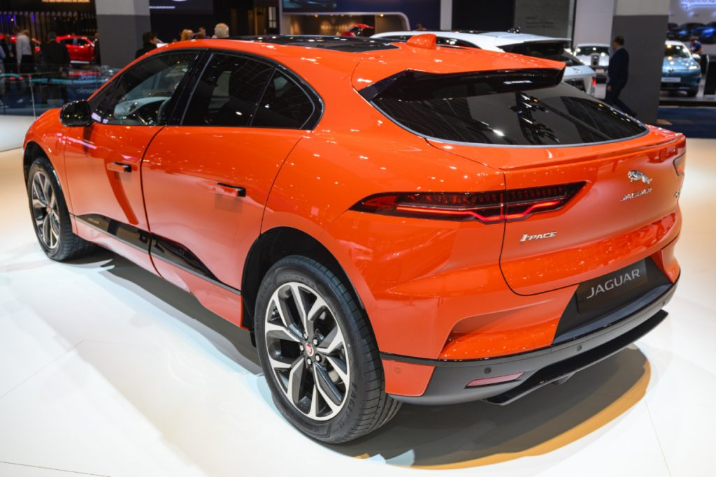 A Jaguar I-Pace displayed in a showroom