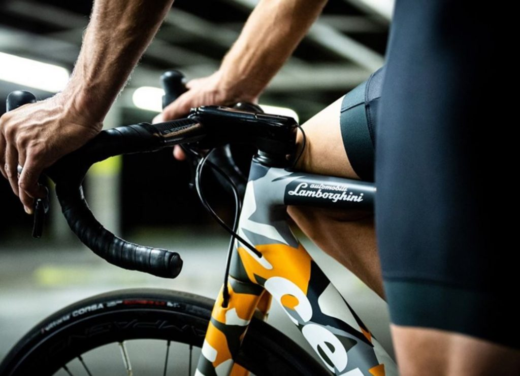 The Lamborghini name on the top rung of the R5 Cervelo bicycle frame
