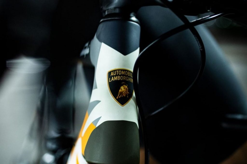 The Lamborghini badge on the stem of the Cervelo R5 bicycle