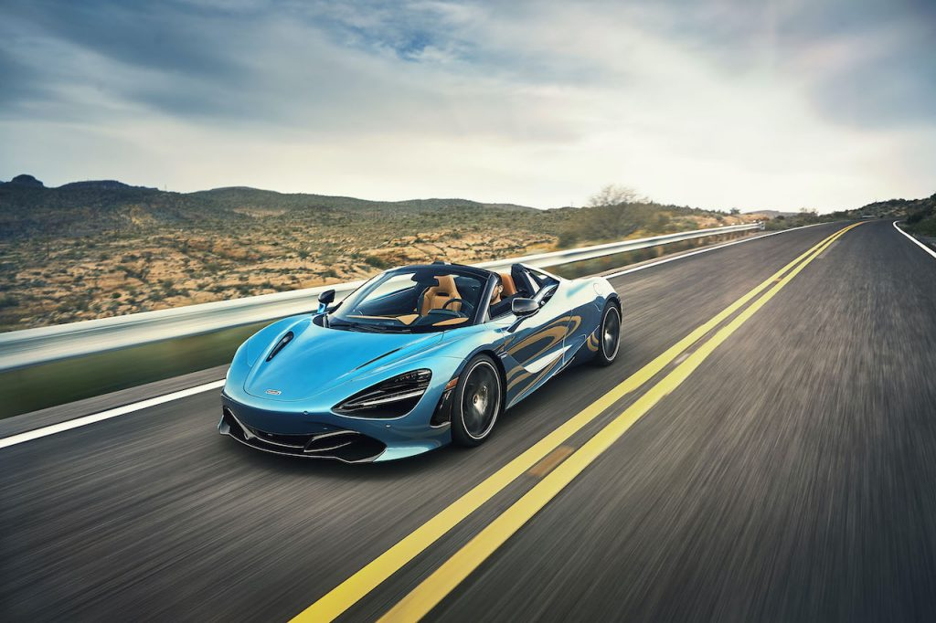 McLaren 720S Spider is a convertible supercar with a 4.0-liter twin turbo V8 and a 200+ mph top speed.