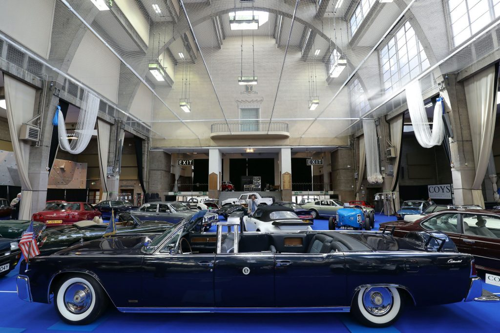 A 1963 Lincoln Continental Limousine Cabriolet on display during a preview for the upcoming Coys Spring Classics auction at the Royal Horticultural Society's Lindley Hall in London