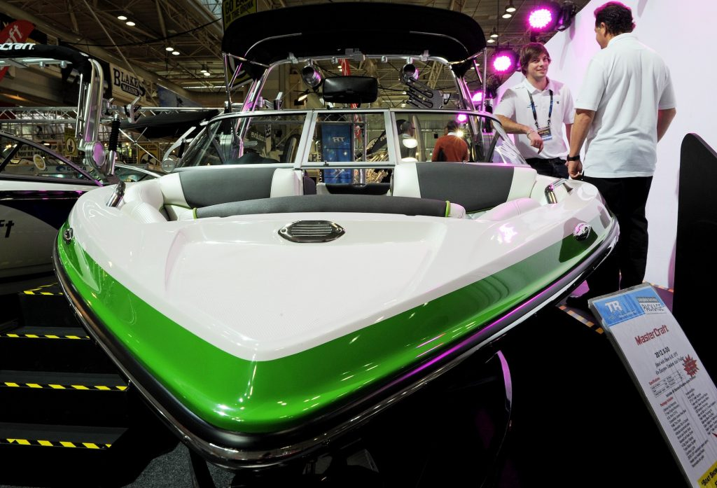 A Mastercraft X30 boat is displayed at the Sydney International Boat Show