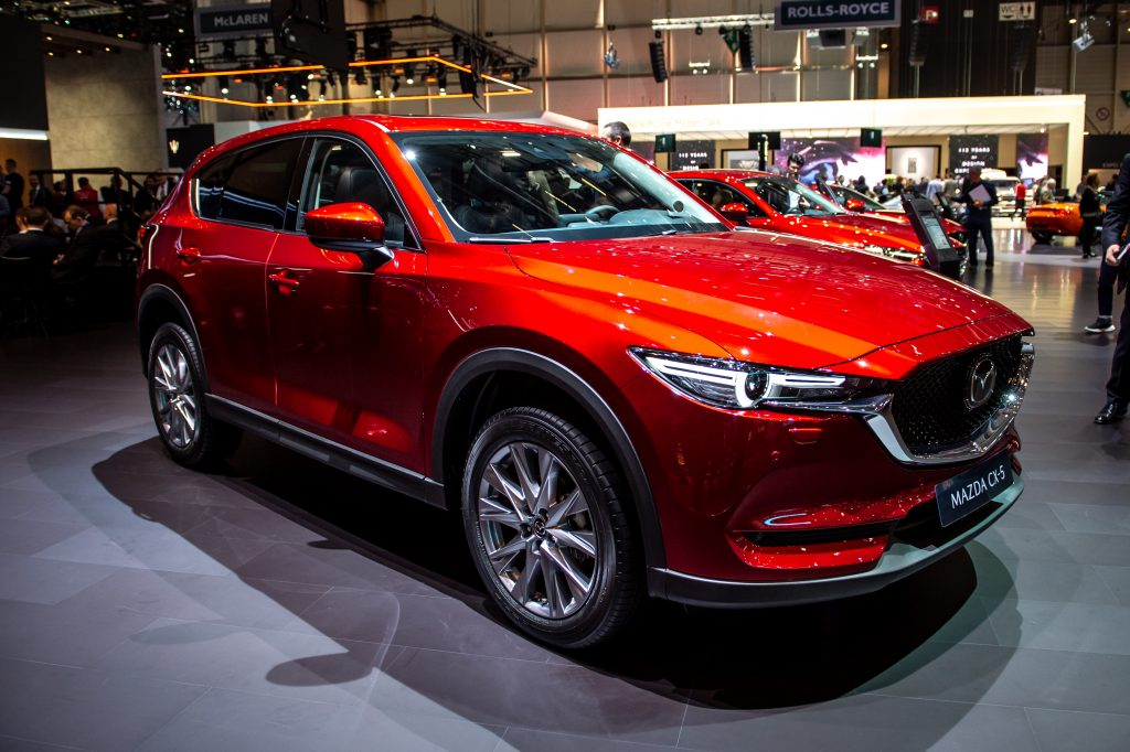A Mazda CX-5 on display in a showroom