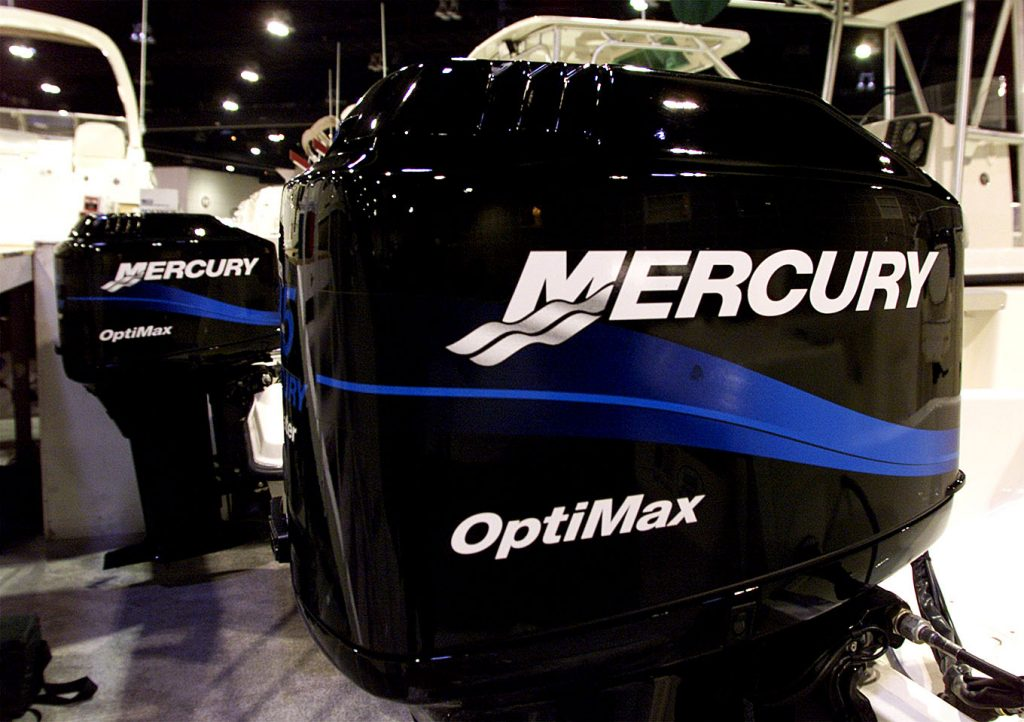 Mercury outboard motors on display at a boat show