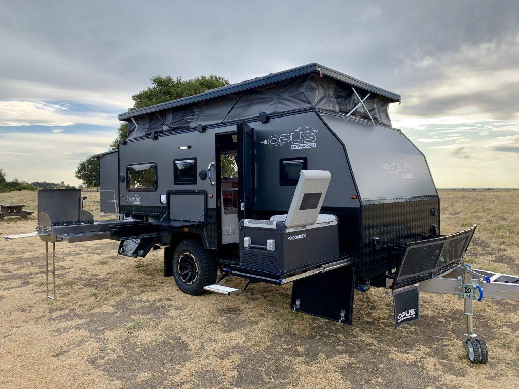 An OP15 caravan off-road.