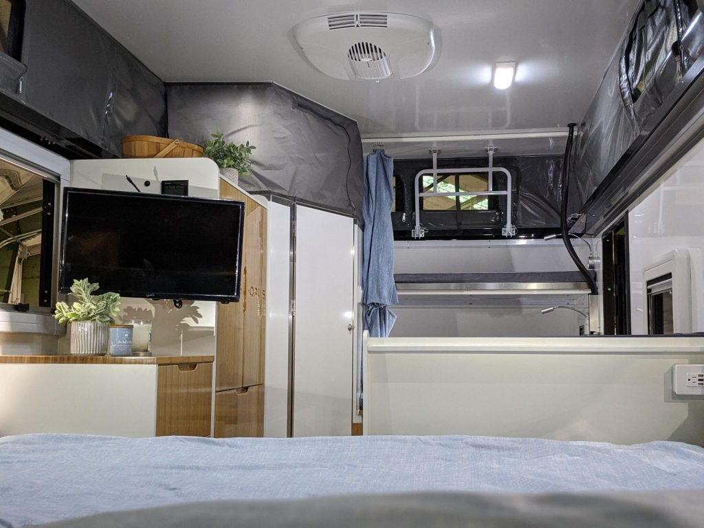 The bedroom area of the OP15 caravan.