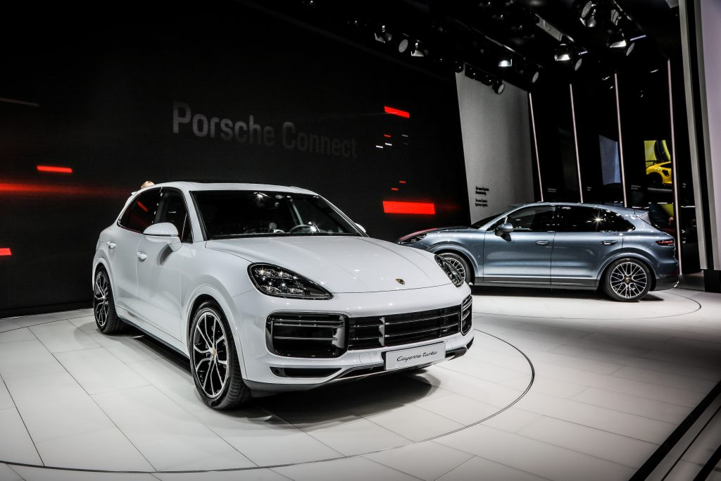 The Porsche Cayenne Turbo, rival to the Mercedes-AMG GLE 63 S, on display at the 2017 Frankfurt Auto Show