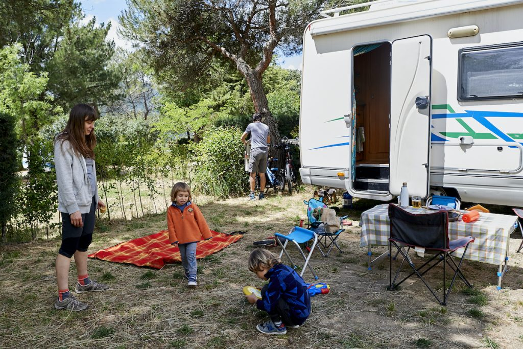 RV motor coach in Spain with a family
