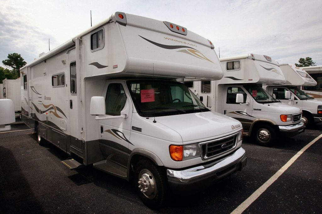 Winnebago Outlook motor homes are offered for sale at the Camp-Land RV dealership