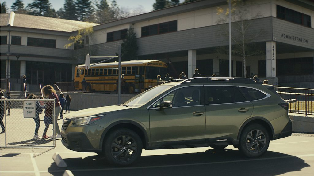 Subaru Outback commercial at the school