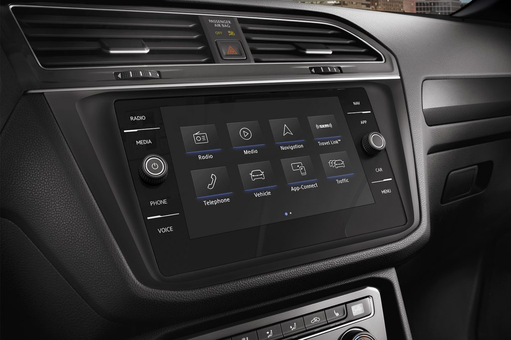 The Tiguan's sharp touchscreen at the center console.