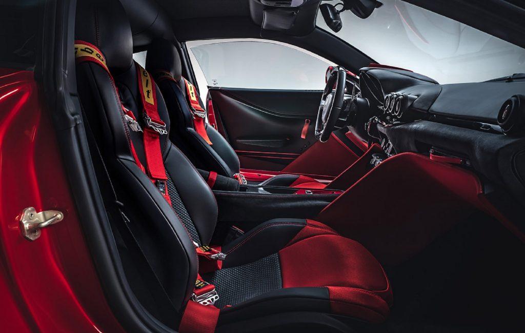 The red-and-black interior of the Touring Superleggera Aero 3