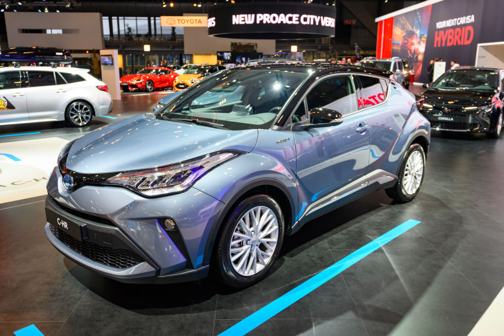 BRUSSELS, BELGIUM - JANUARY 9:  Toyota C-HR Hybrid compact crossover SUV on display at Brussels Expo on January 9, 2020 in Brussels, Belgium. (Photo by Sjoerd van der Wal/Getty Images)