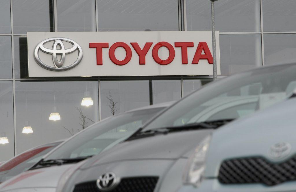 Toyota models outside of a dealership