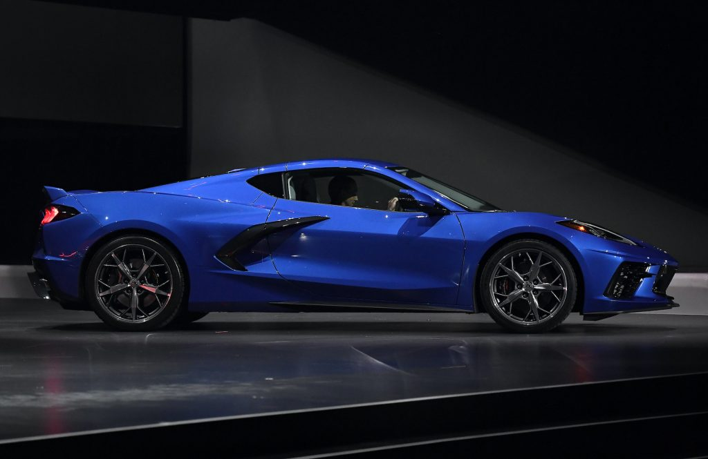 The 2020 mid-engine C8 Corvette Stingray by General Motors is unveiled during a news conference
