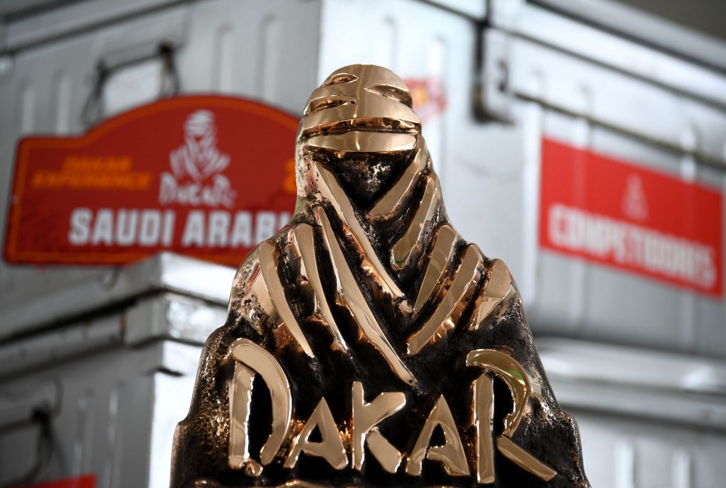 A picture taken in Paris on June 10, 2020 shows a trophy of the Dakar Rally. - The Dakar Rally will take place in Saudi Arabia