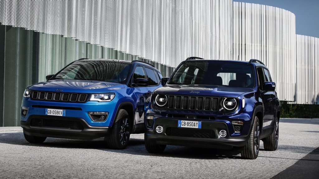 Hybrid Jeep Compass 4xe and Jeep Renegade parked on street