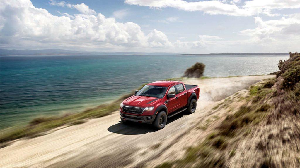 Ford Ranger Roush driving on dirt road