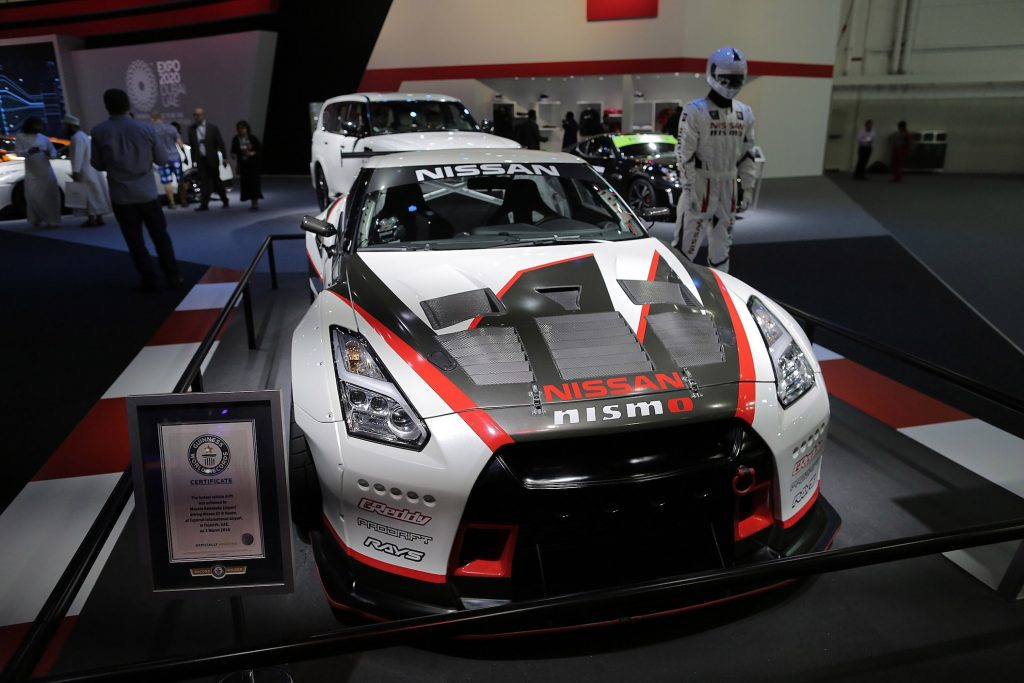 GTR Nismo of Nissan is displayed during Dubai International Motor Show 2017
