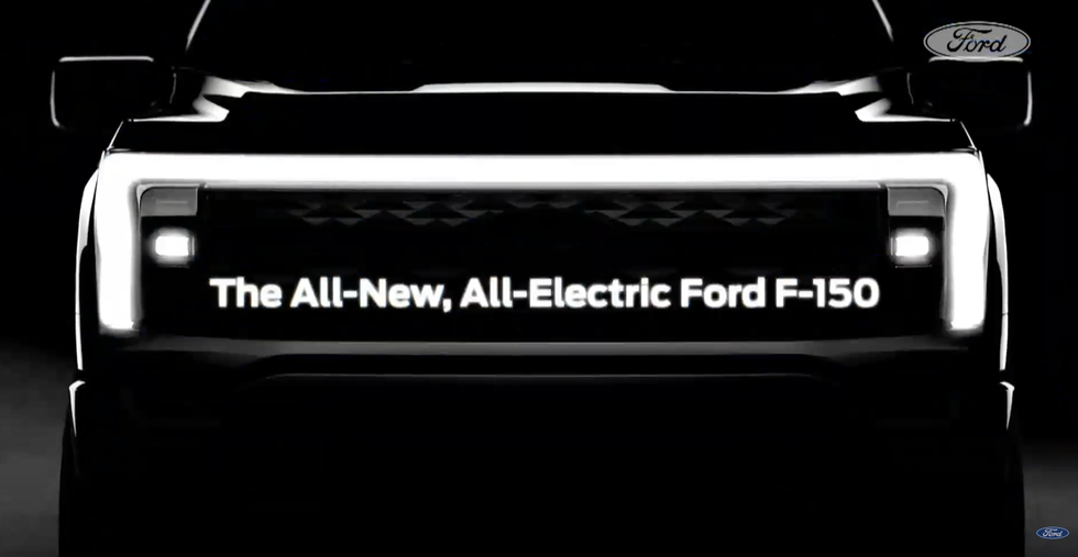 The teaser images of the F-150 EV's front grille.