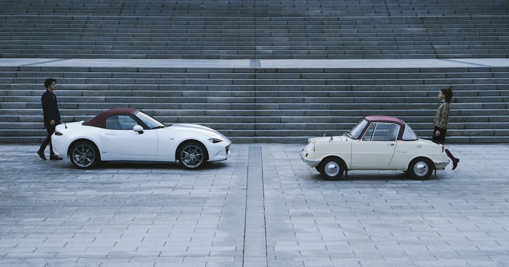 100th anniversary Mazda Miata MX-5 with a 1960 Mazda R360