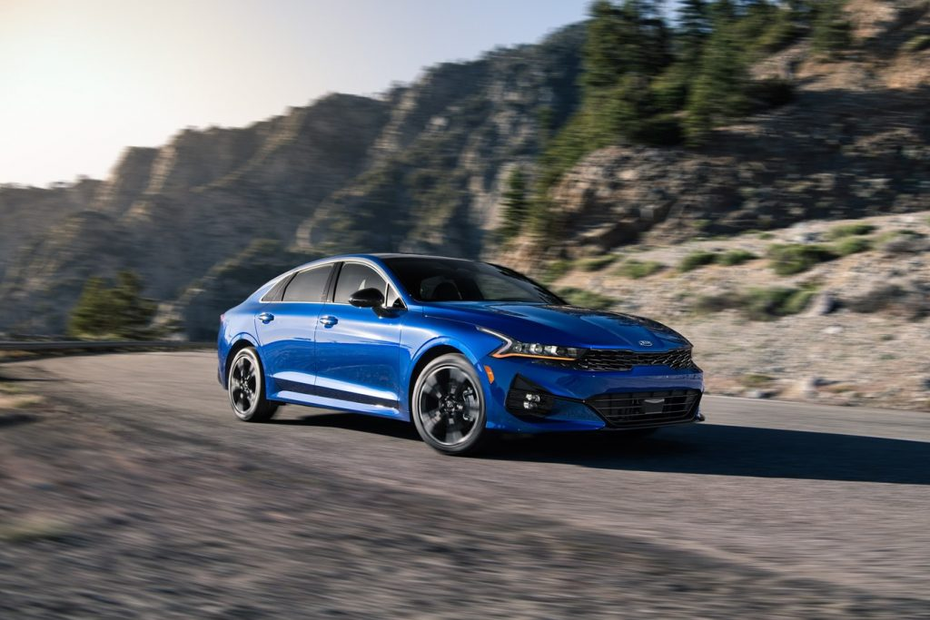 An image of the 2021 Kia K5 GT-Line outdoors.