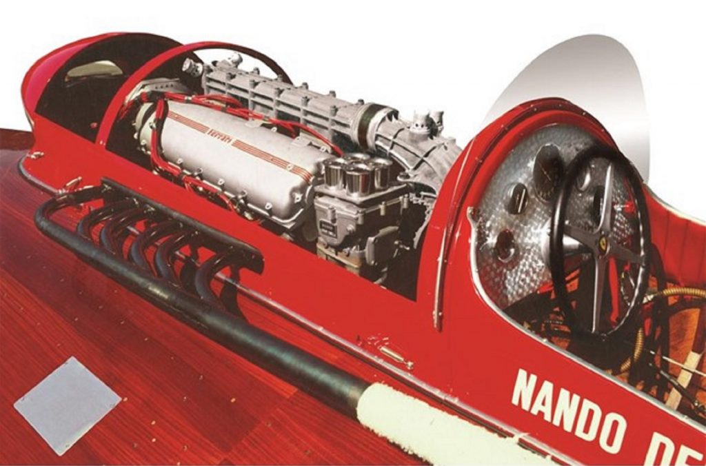 A view of the 1952 Ferrari Arno XI's supercharged V12 engine