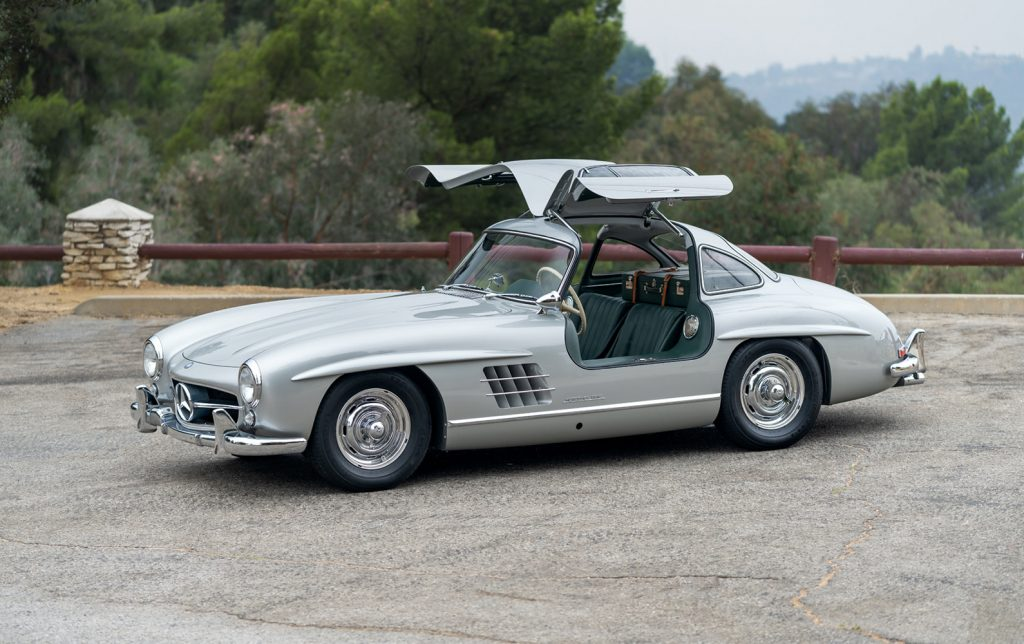 1957 Mercedes-Benz 300 SL Gullwing with its doors up