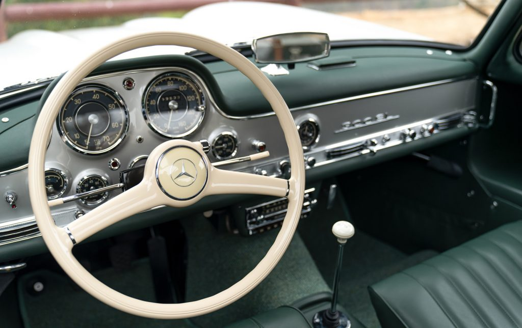 The interior of the 1957 Mercedes-Benz 300 SL Gullwing