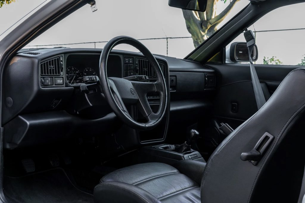 The front seats and dashboard of a 1990 Volkswagen Corrado