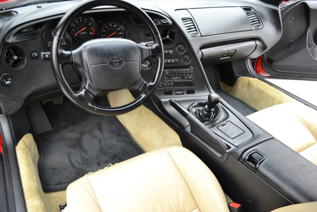 The tan-leather-upholstered interior of the 1994 Toyota Supra Turbo