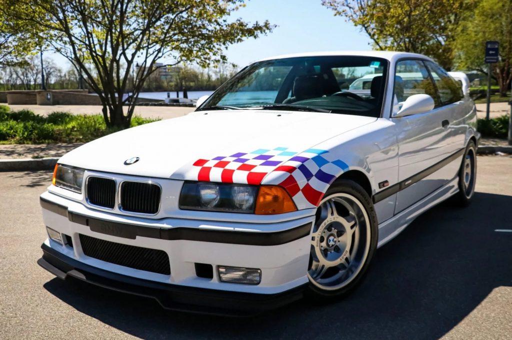 A white 1995 BMW M3 Lightweight