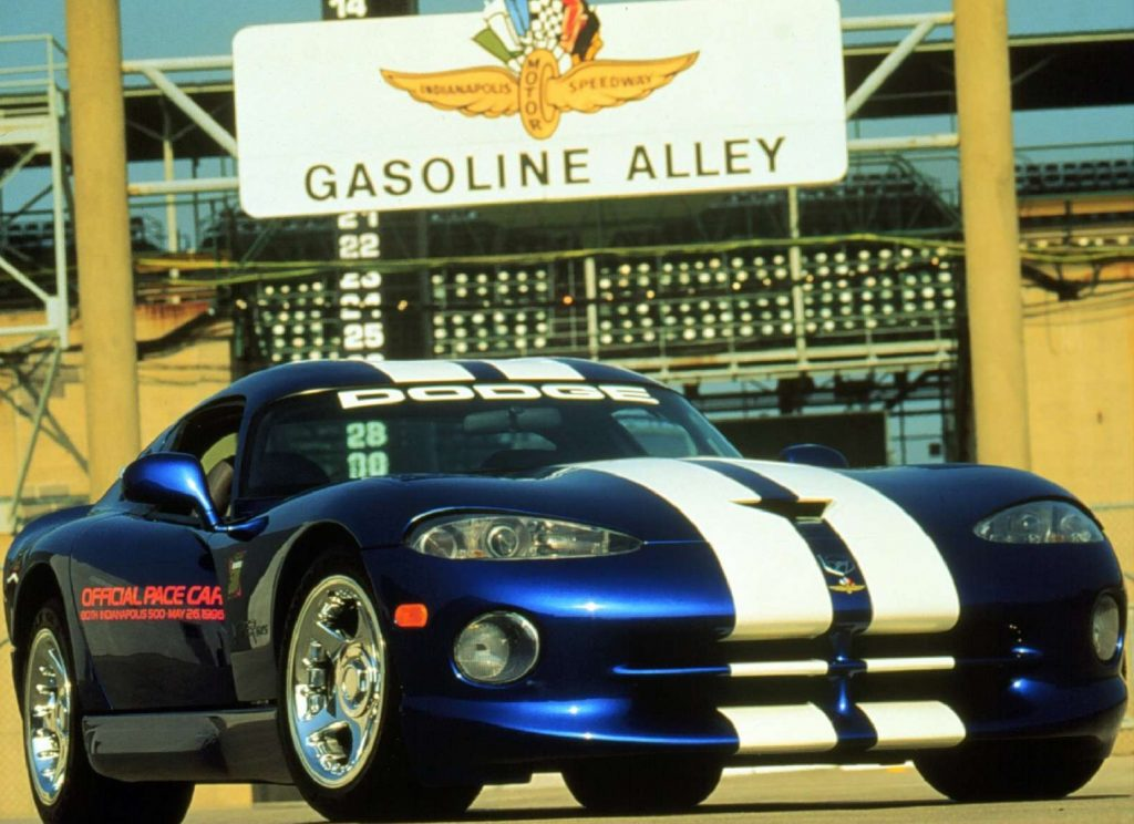 A blue-and-white 1996 Dodge Viper GTS at the Indy 500