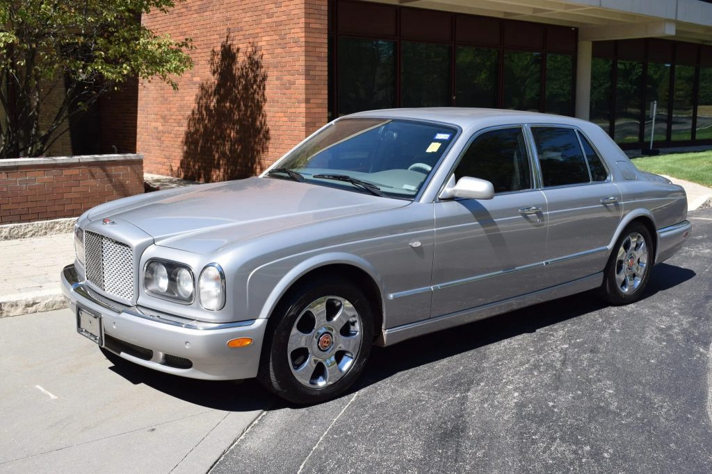 A silver 2001 Bentley Arnage Red Label