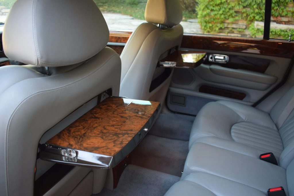The 2001 Bentley Arnage Red Label's rear seats and walnut picnic tables