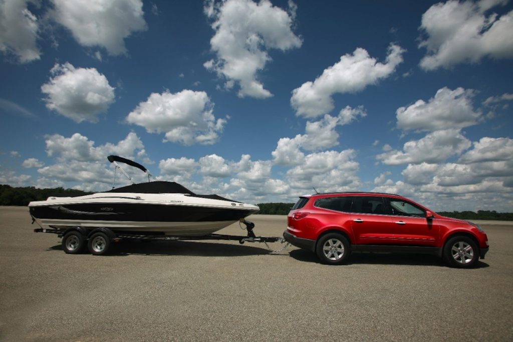 2012 Chevy Traverse towing boat
