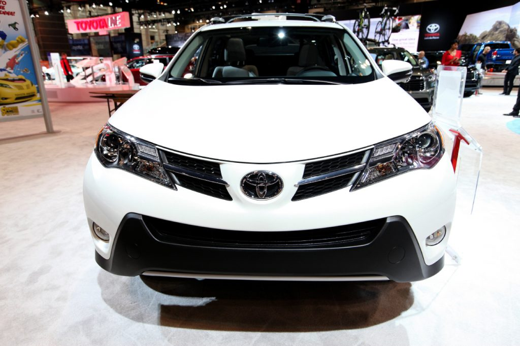 A 2015 Toyota RAV4 on display at an auto show