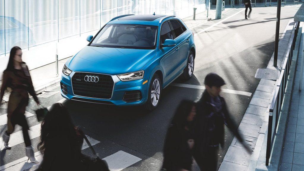A blue 2018 Audi Q3