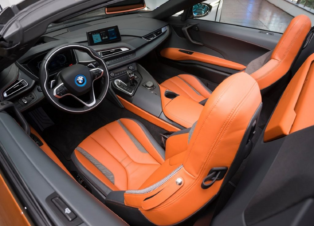 The orange-leather interior of the 2019 BMW i8 Roadster