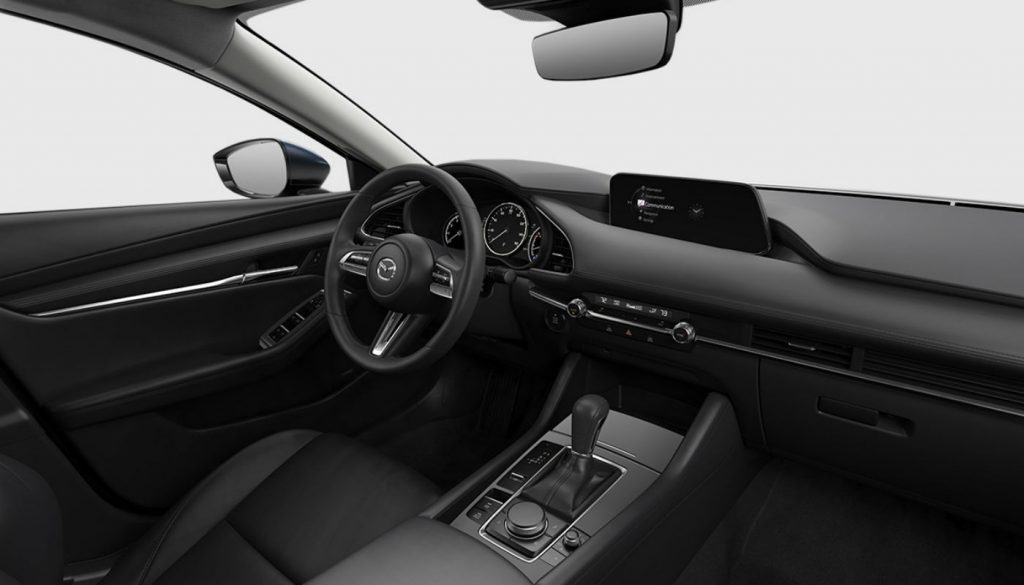Front seats of the 2019 Mazda3 with black faux leather.