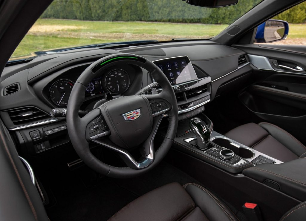 The black interior of the 2020 Cadillac CT4-V