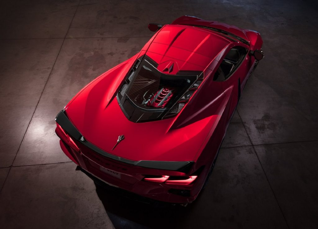 An overhead view of a red 2020 Chevrolet C8 Corvette