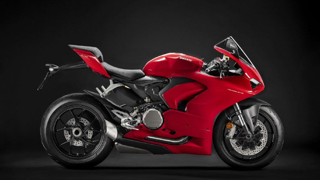 The side view of a red 2020 Ducati Panigale V2