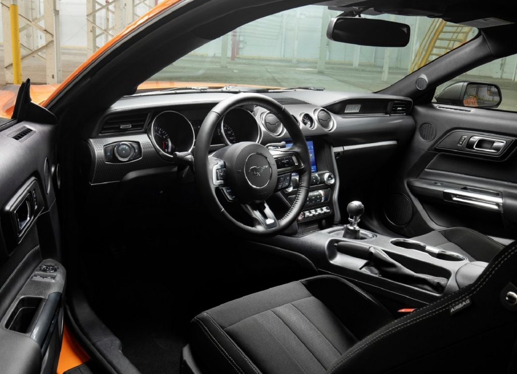 The black interior of the 2020 Ford Mustang EcoBoost High Performance Package