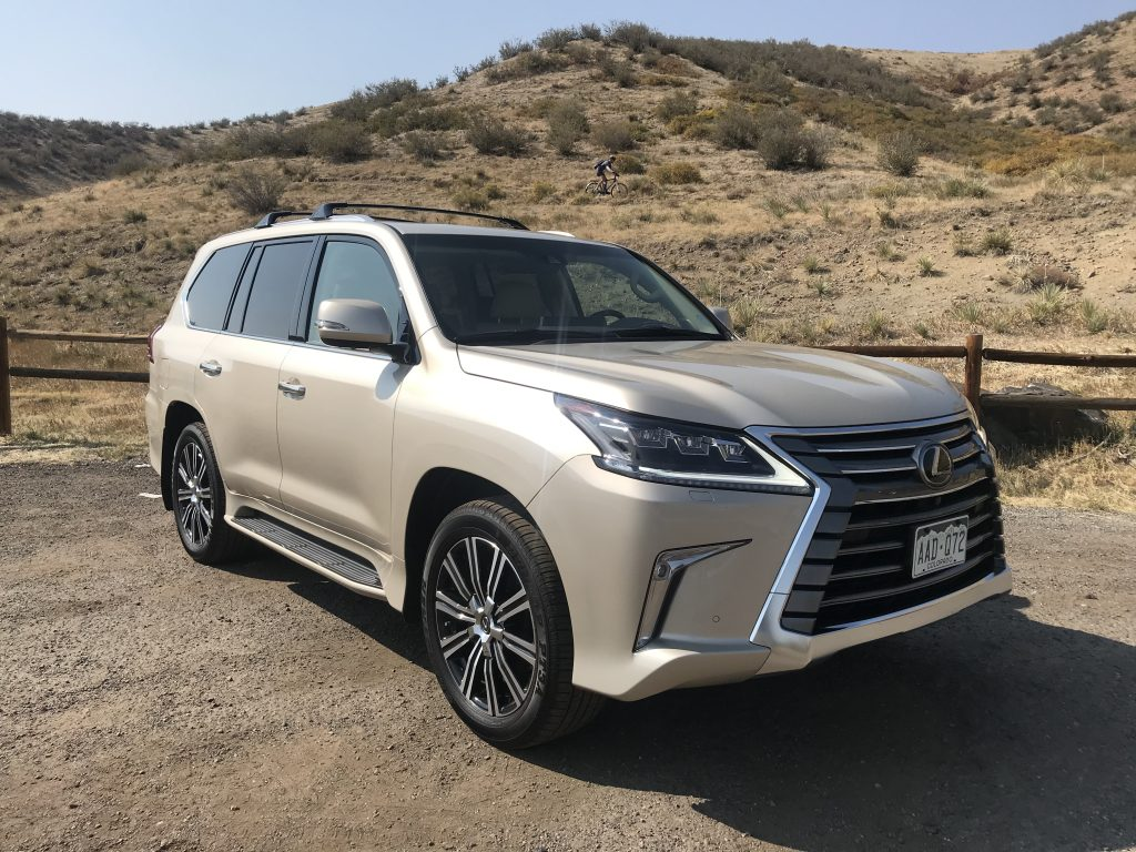 A tan 2020 Lexus LX 570 off-road.