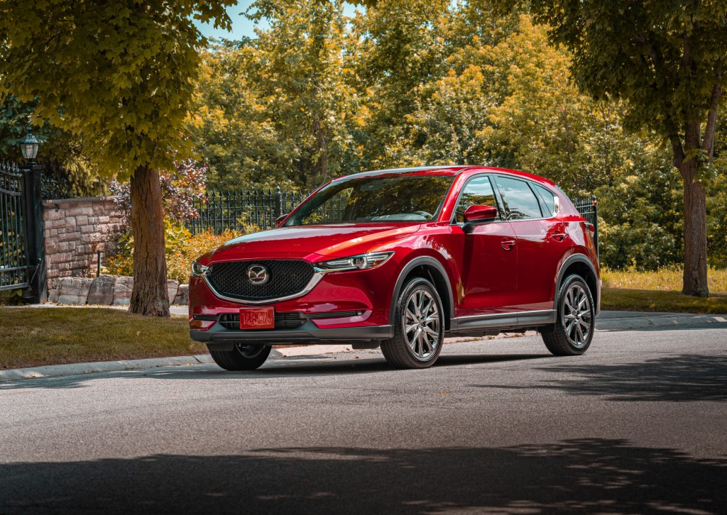 The 2020 Mazda CX-5 on display in the middle of a road